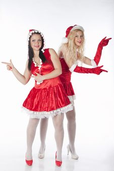 Free Two Sexy Santa Girls Having Fun Royalty Free Stock Photos - 17469918