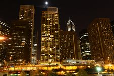 Free Chicago At Night Royalty Free Stock Photo - 17469975