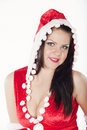 Free A Beautiful Brunette Girl Dressed As Santa Stock Photography - 17470192