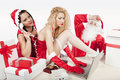 Free Santa Claus With Two Sexy Helpers In His Office Stock Images - 17470294