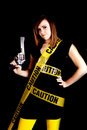 Free Woman Caution Gun Royalty Free Stock Photo - 17472185