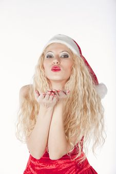 Free Sexy Girl With Blonde Curly Hair Dressed As Santa Stock Photos - 17470133
