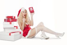 Sexy Girl With Blonde Curly Hair Dressed As Santa Royalty Free Stock Photo