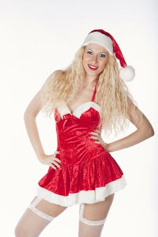 Free Sexy Girl With Blonde Curly Hair Dressed As Santa Royalty Free Stock Photography - 17470167