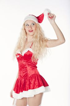 Free Sexy Girl With Blonde Curly Hair Dressed As Santa Stock Images - 17470174