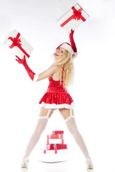 Sexy Girl With Blonde Curly Hair Dressed As Santa Stock Image