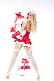 Sexy Girl With Blonde Curly Hair Dressed As Santa Stock Photos