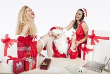 Free Santa Claus With Two Sexy Helpers In His Office Royalty Free Stock Photo - 17470295