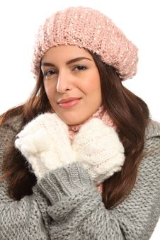 Free Beautiful Young Woman Warm In Winter Woolly Knit Royalty Free Stock Photo - 17470805