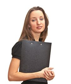 Beautiful Woman Holding A Folder Royalty Free Stock Photo