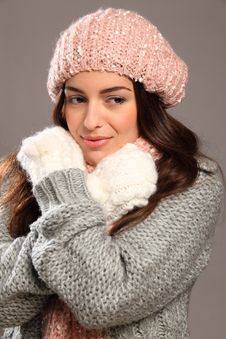 Free Girl In Warm Winter Woollies Looking Away Smiles Stock Image - 17470901