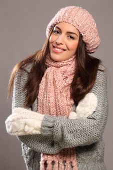 Big Happy Smile By Beautiful Woman In Warm Clothes Stock Image