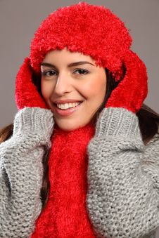 Happy Smile By Woman In Warm Festive Woolly Knits Stock Photography