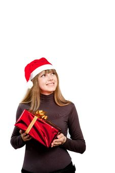 Free Cute Laughing Girl Holding The Red Box Present Stock Images - 17472004