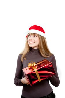 Free Cute Laughing Girl Holding Red Box Present Stock Photo - 17472040