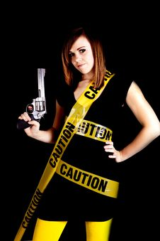 Free Woman Caution Gun Royalty Free Stock Photo - 17472185
