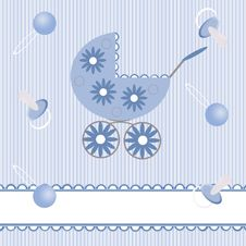 Blue Babies Background With Pram Royalty Free Stock Photo