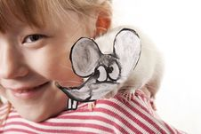Free Fun Childl And Rat In A Mask Royalty Free Stock Photography - 17474037