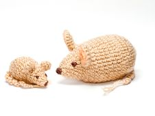 Free Handmade Toy Mice Family. Royalty Free Stock Image - 17474416