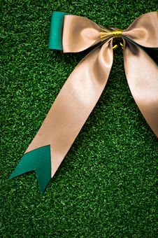 Free Gift Bow On Green Grass Stock Images - 17474434