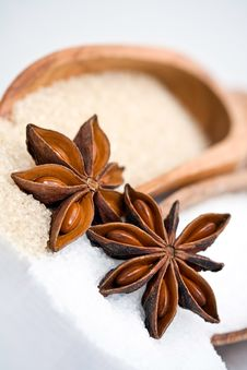 Free Star Anise And Sugar. Royalty Free Stock Photos - 17475458