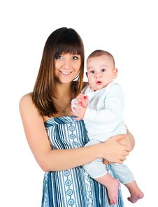 Free Pretty Young Women With Her Baby Stock Photography - 17475892