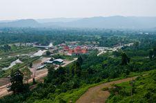 Bird Eye View Of Dam Construction Site Stock Photos