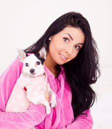 Woman With Her Dog Stock Images