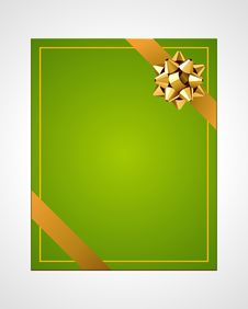 Free Green Card With Gold Bow Stock Photos - 17476733