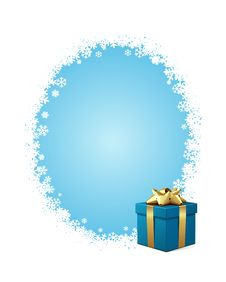 Blue Gift With Gold Bow Stock Photo