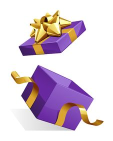Free Open Gift Box With Glossy Gold Bow Stock Photos - 17476773