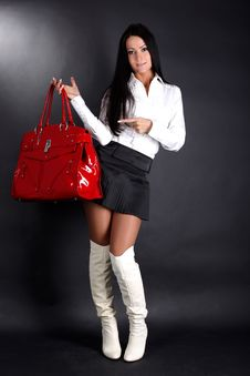 Free Woman With Red Bag Royalty Free Stock Photography - 17476957