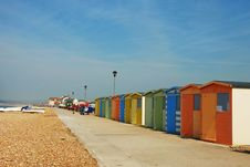 Free Dressingrooms Waiting On The Beach Stock Image - 17477571