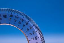 Free Protractor On Blue Royalty Free Stock Images - 17477679