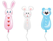 Three Balloons/hare, Mouse, Bear Stock Image