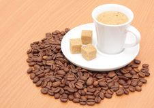 Free Coffee Cup And Grain Stock Photography - 17479642