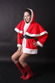 Portrait Of A Beautiful Girl Santa Royalty Free Stock Images