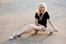 Young Caucasian Teen With Skate Stock Image