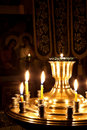 Free Candles And A Lamp Burning In The Church. Royalty Free Stock Photography - 17481937