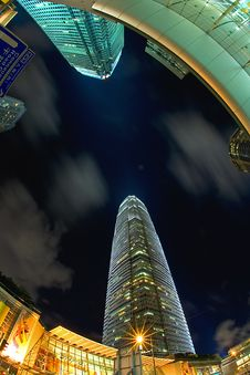 Free Fisheye View Of Skyscrapers At Night Royalty Free Stock Photography - 17481177
