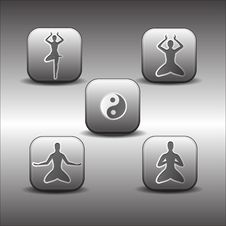 Icons Of Meditations Poses Stock Image