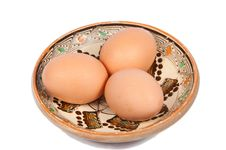 Free Three Eggs On A Traditional Plate Royalty Free Stock Photography - 17481637