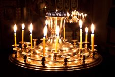 Free Candles And A Lamp Burning In The Church. Stock Images - 17481884