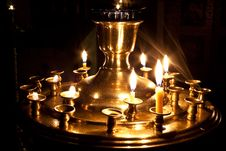 Candles And A Lamp Burning In The Church. Stock Photography