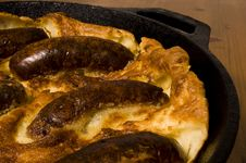 Toad In The Hole (British Sausage In Batter Mix) Royalty Free Stock Image