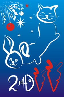 Free Rabbit And Cat Royalty Free Stock Photo - 17483495