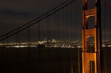 Free Golden Gate Bridge At Night Stock Photography - 17484582