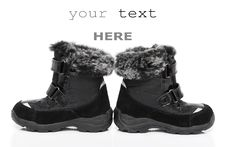 Free Black Child S Winter Boots Stock Photography - 17486262