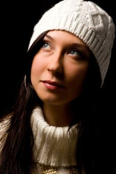 Free Cute Woman With White Winter Hat Stock Photos - 17486533
