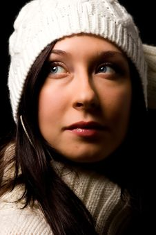 Free Cute Woman With White Winter Hat Stock Image - 17486561
